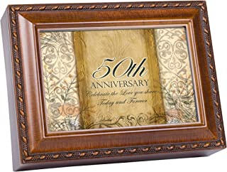 Cottage Garden 50th Anniversary Woodgrain Rope Trim Jewelry Music Box Plays Unchained Melody