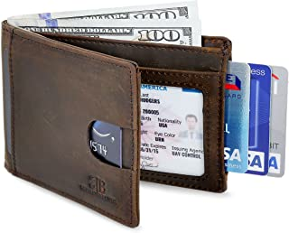 SERMAN BRANDS RFID Blocking Slim Bifold Genuine Leather Thin Minimalist Front Pocket Wallets for Men