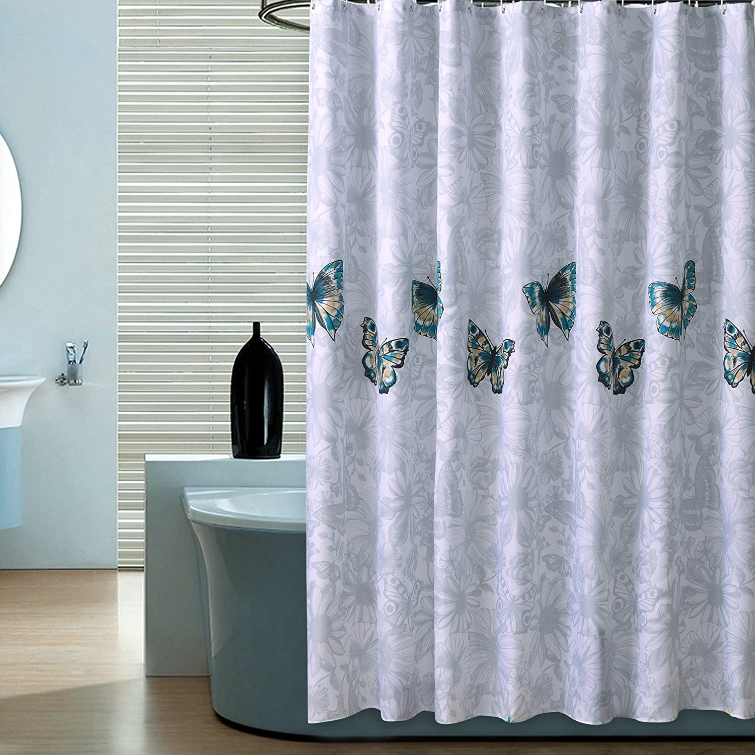 Mokiki White Polyester Fabric Shower Curtain with Butterflies Wa