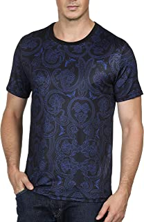 PAUL JONES Men's Casual Elastic Short Sleeve Crew Neck Paisley Shirts