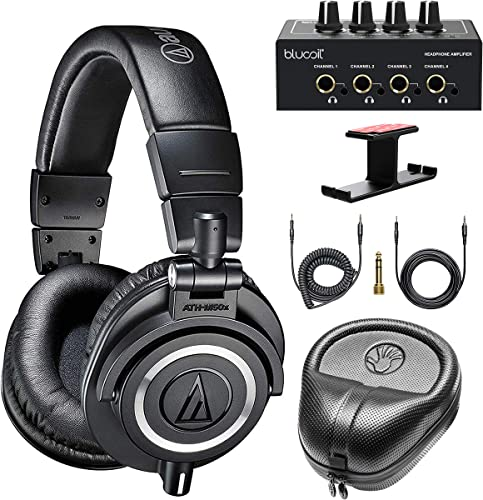 discount Audio-Technica ATH-M50x Professional Studio Monitor Headphones (Black) discount Bundle with Blucoil 4-Channel Headphone Amplifier, Aluminum Headphone Hook, sale and Slappa Full-Sized HardBody Pro Headphone Case online sale