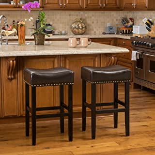 Christopher Knight Home Chantal Brown Leather Bar Stool (Set of 2)