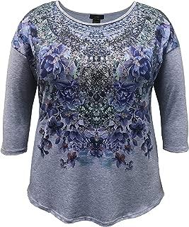LEEBE Women's Plus Size 3/4 Sleeve Print Top (1X-5X)