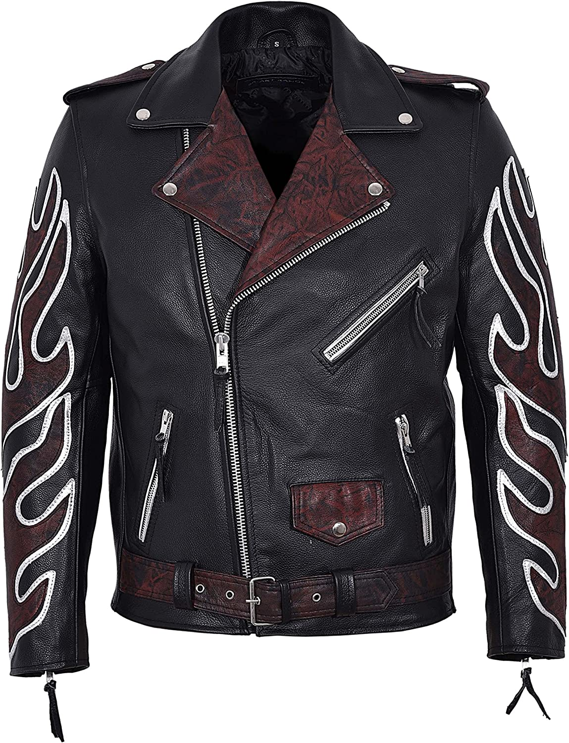 Classic Brando Black OXRED Flame Men's Motorcycle Biker Hide Real Leather Jacket