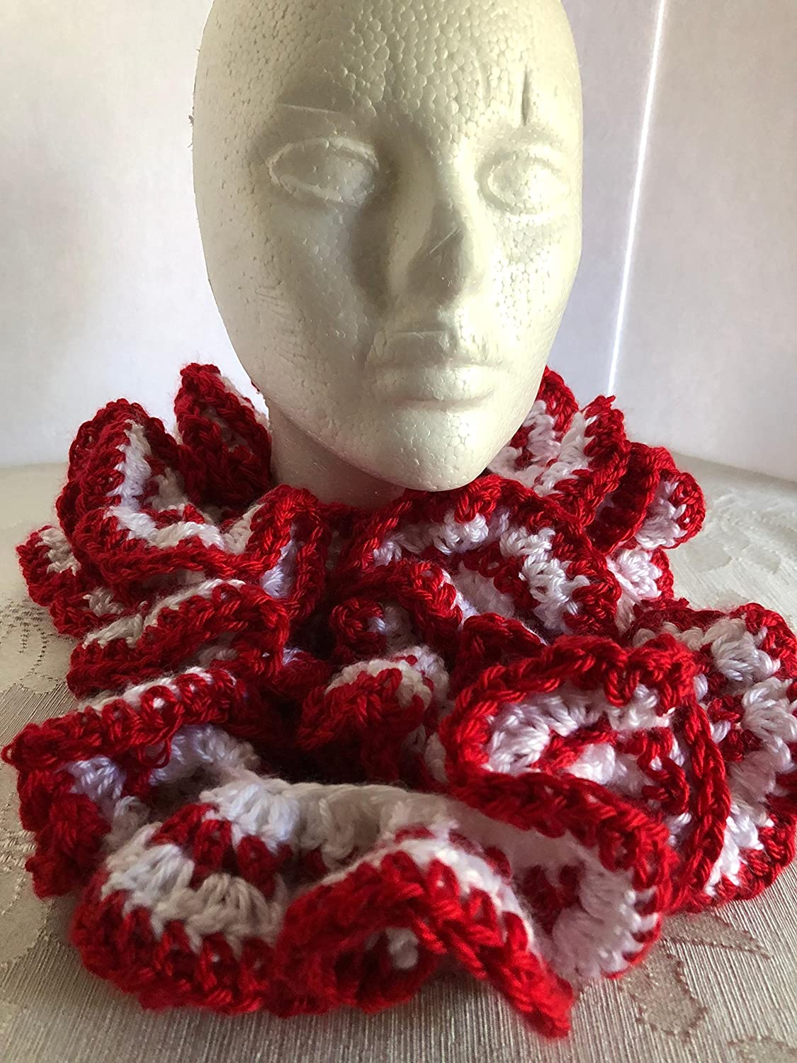 Selling Scarves-Crocheted Red White Now on sale Cowl