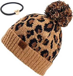 Exclusives Soft Beanie hat with Leopard Pattern and Fur Pom(HAT-7001)(SF-7001)