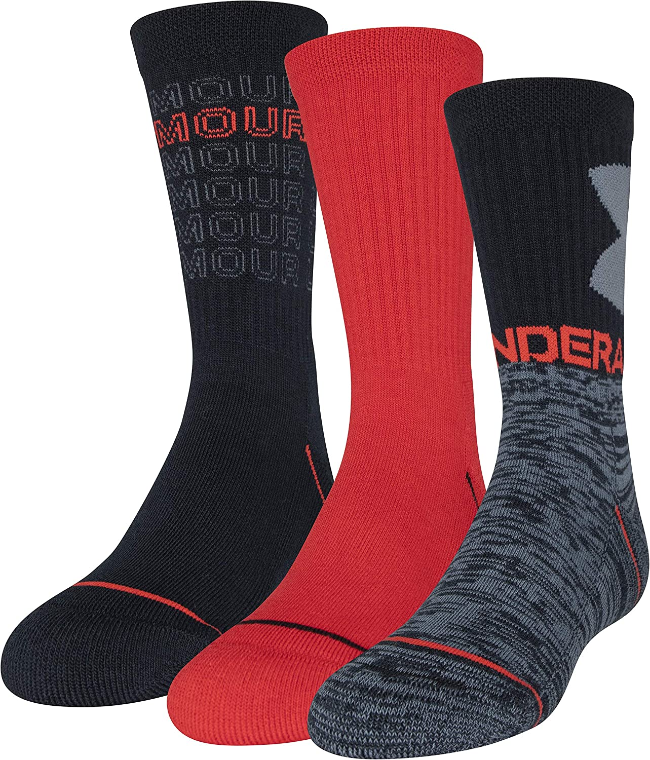 Under Armour Youth Training Cotton Crew Socks, 3-Pairs