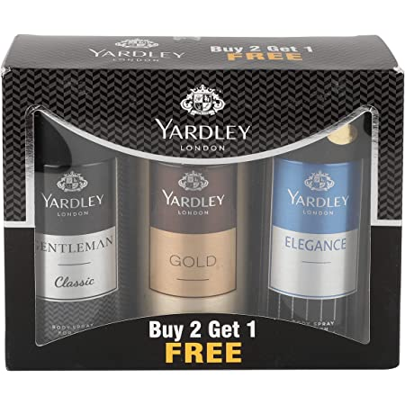 Yardley London Gentleman Classic Deo with Gold Body Spray and Elegance Deo for Men, 150ml (Buy 2 get 1)