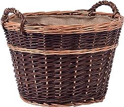dobar - Cesta de Mimbre sin pelar con Revestimiento de Yute para leña (50 x 50 x 34 cm), Color marrón Oscuro
