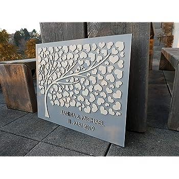 Eiche Dunkel Manschin-Laserdesign Personalisiertes 3D G/ästebuch 140 Bl/ätter komplett aus echtem Holz G/ästebuch Alternative 69x65 cm
