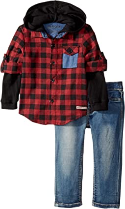 Hudson Kids - Three-Piece Woven Flannel Plaid w/ Mock Thermal and Stretch Denim Pants (Infant)
