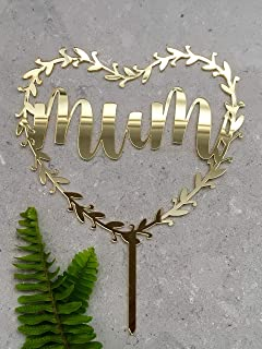 Cheyan Mum Heart Halo Acrylic Gold Mirror Mothers Day Cake Topper