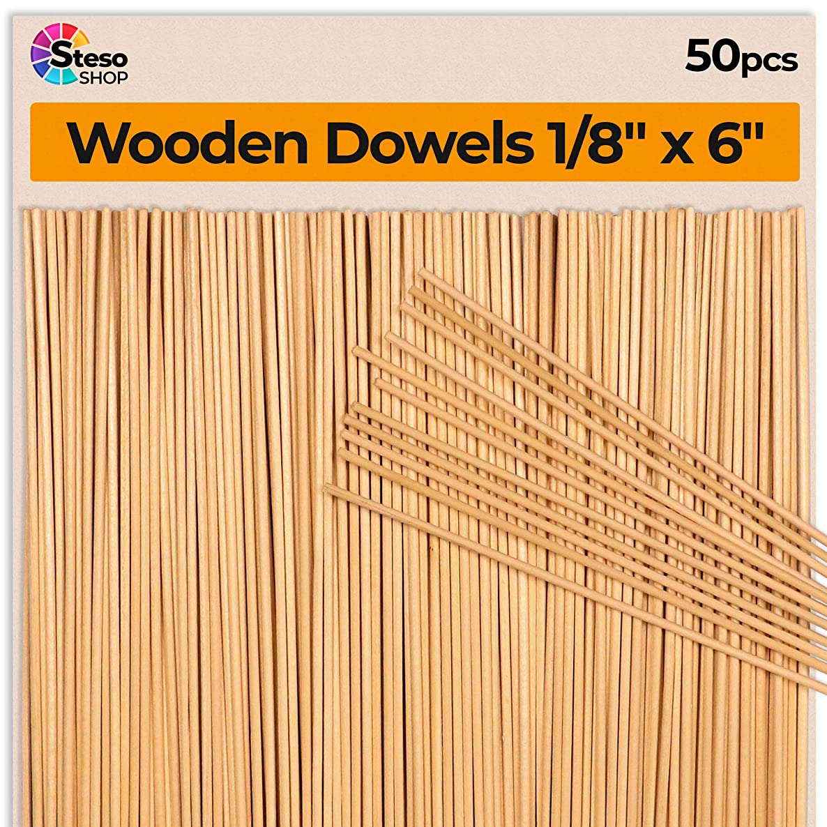 Wooden Dowel Rods 6 inch - 1/8 Hardwood Dowels - Craft Dowels for Woodworking Project 50 pcs - for Model Building Games Kids Crafts Handmade Gifts Home Decor (1/8)