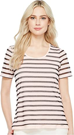 Stripe Knit Short Sleeve Tee