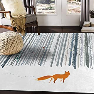 ALAZA Winter Forest Landscape with Fox Bird Area Rug for Living Room Bedroom 5'3