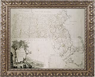 Map of the State of Massachusetts 1801, 16 by 20-Inch, Gold Ornate Frame