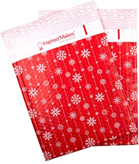 Inspired Mailers - Bubble Mailers 10x13 (Writable Area) - Winter Snowflakes - Choose Between 6x9, 10x13 and 12x15 Sizes - Padded Mailers (10x13, 10 Pack)