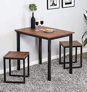 Homury Modern Wood 3 Piece Dining Set Studio Collection Soho Dining Table with Two Stools Home Kitchen Breakfast Table,Brown