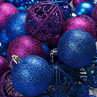 R N' D Toys 100 Purple and Blue Christmas Ornament Balls Shatterproof + 100 Metal Ornament Hooks, Hanging Ornaments for Indoor/Outdoor Christmas Tree, Holiday Party, Home Decor