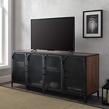 "Walker Edison Furniture Company Industrial Metal Mesh Universal Stand with Cabinet Doors TV's up to 64"" Flat Screen Living Room Storage Entertainment Center, 60 Inch, Dark Walnut"