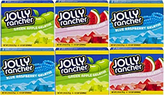 Jolly Rancher Gelatin: Green Apple, Watermelon, Blue Raspberry, Case of 6 Bundle (Original Version)