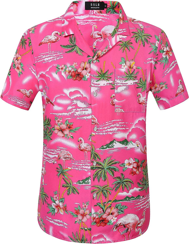 SSLR Mens Hawaiian Shirt Flamingo Relaxed Fit Short Sleeve Tropical Shirts