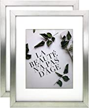 ONURI - European Design Silver Frame - (2-Pack) - 11x14 Silver Picture Frame with Mat for 8x10 Picture