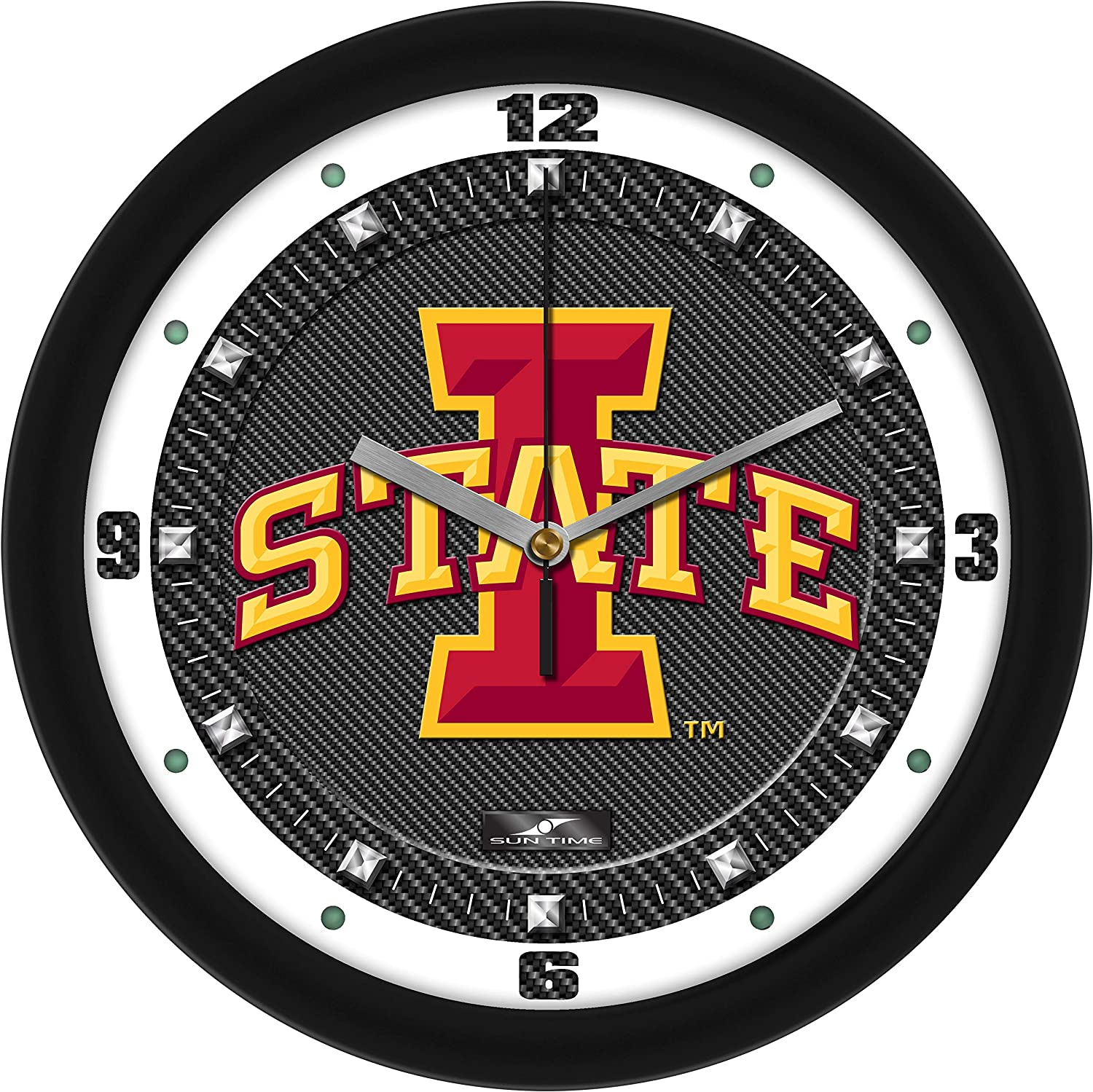 SunTime Iowa Opening large release sale State Popular brand in the world Cyclones - Textured Fiber Clock Carbon Wall