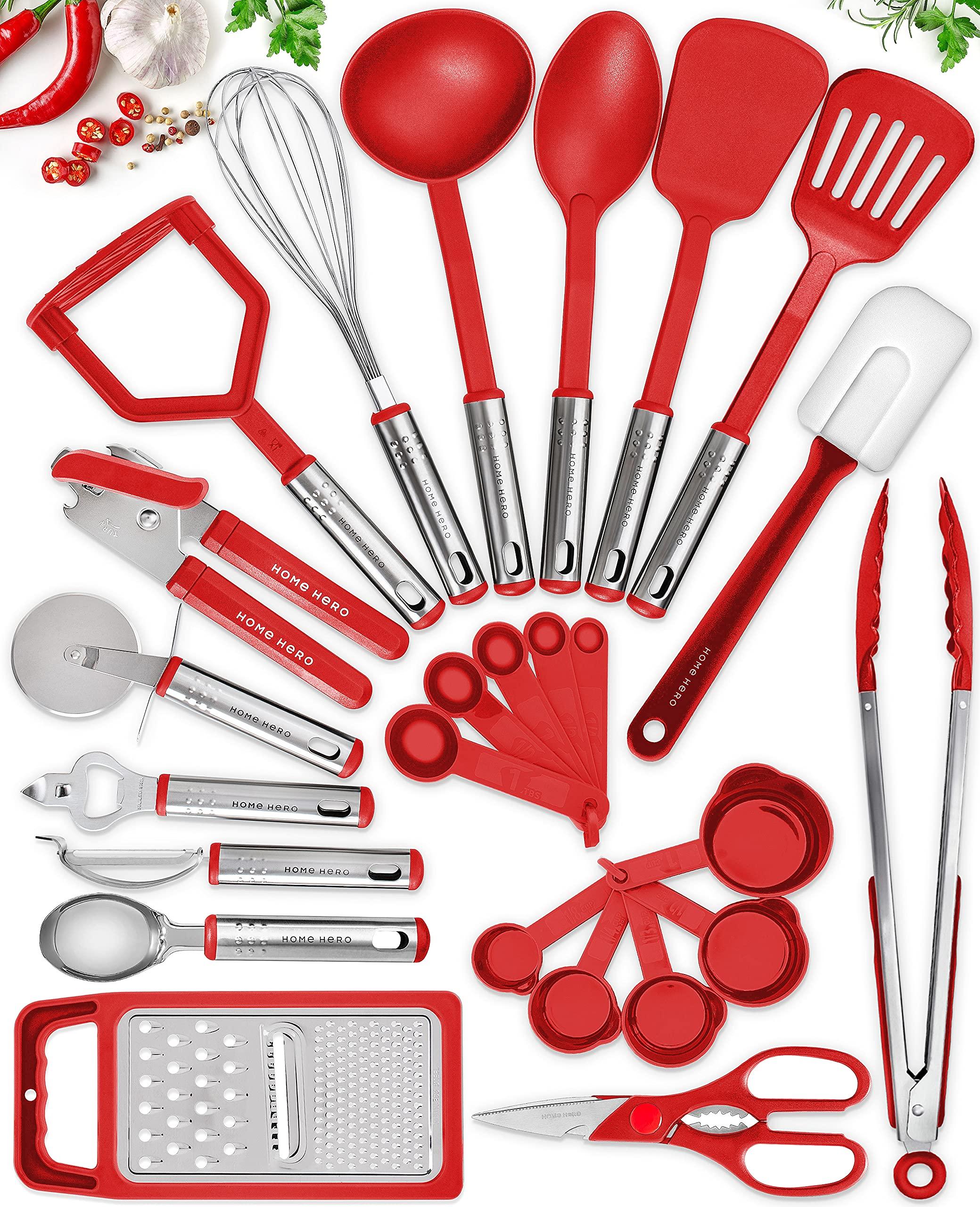 25 Kitchen Utensil Set Home Hero - Nylon Cooking Utensils - Kitchen Utensils with Spatula - Kitchen Gadgets Cookware Set -...