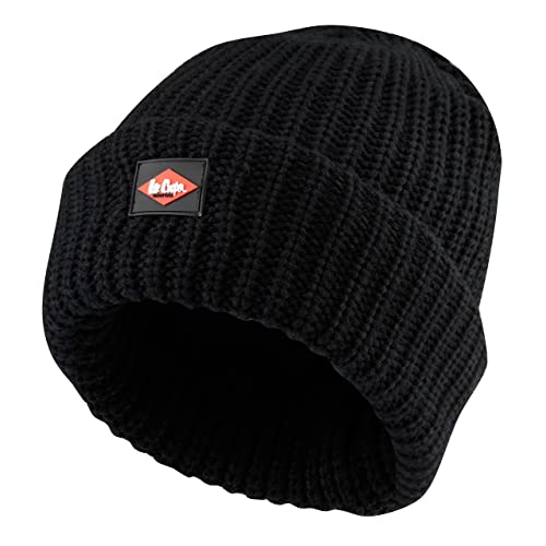 13260490648ce7 Lee Cooper Men's Knitted Fleece Lined Beanie Hat - Black, One Size