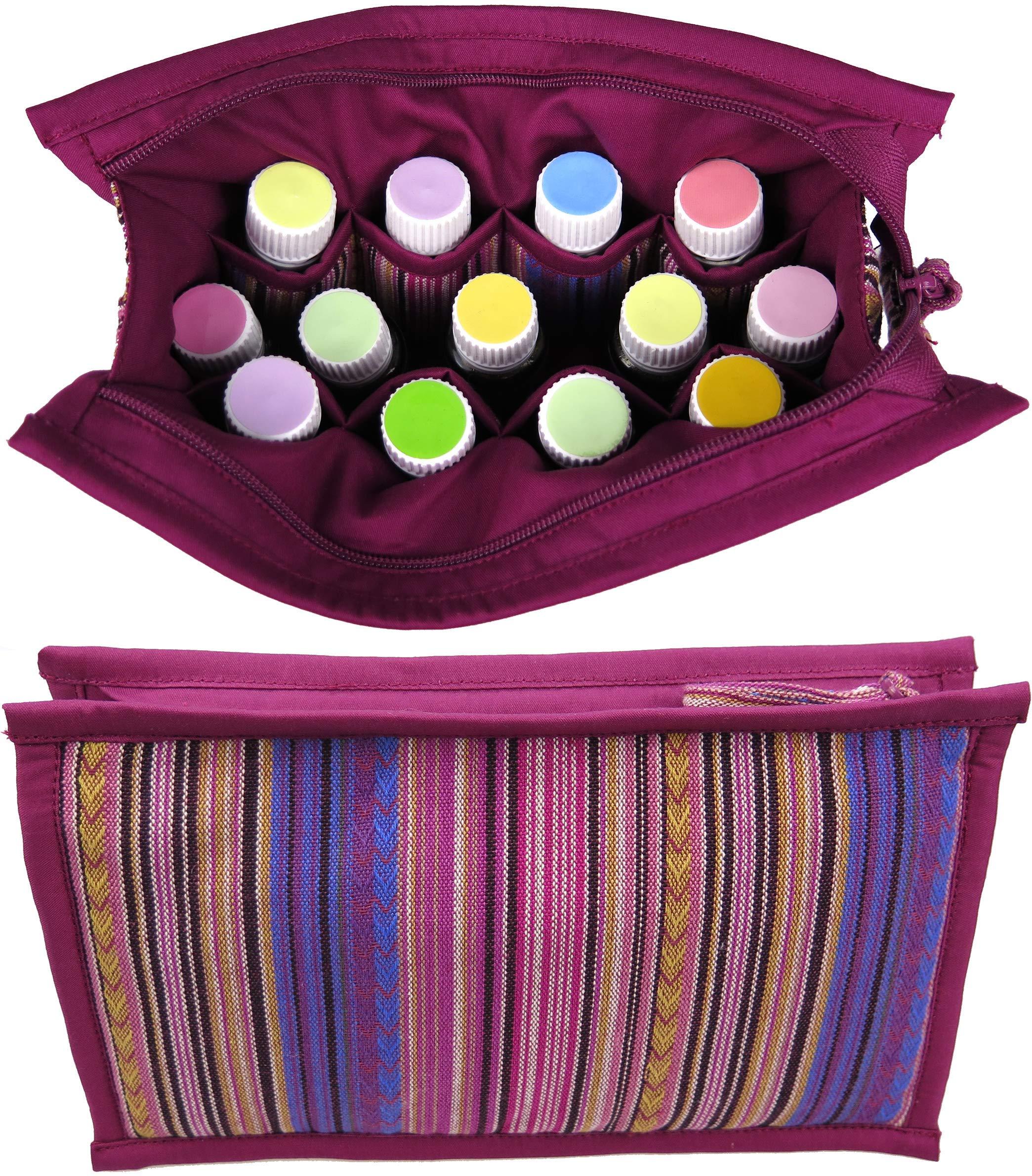 大型のエッセンシャルオイルスーツケースには、12:5mL  -  10mL  -  15mLのオイルとローラーボトル用芳香剤*旅行用バッグ - 女性用 - 子供用エッセンシャルオイル収納バッグ(パープルレッド)幅8.5インチx 5インチ