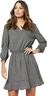 French Connection Women's Check ME Out Mini Dress, Black/White