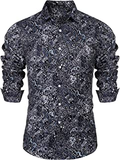 Men's Floral Dress Shirt Slim Fit Casual Paisley Printed Shirt Long Sleeve Button Down Shirts