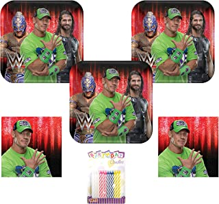 WWE Smash Wrestling Party Supplies Pack Serves 16: Plates and Napkins with Birthday Candles (Bundle for 16)
