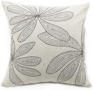 White Oblong Embroidered Pussy Willow Floral Design Elegant Throw Pillow Cover