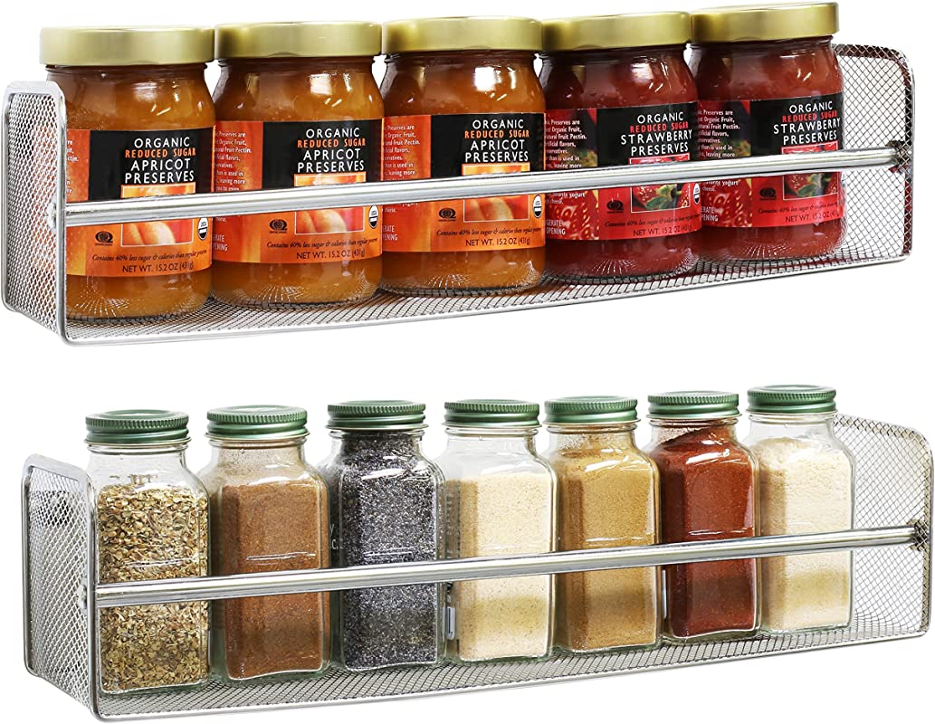 DecoBros 2 Pack Wall Mount Single Tier Mesh Spice Rack Chrome