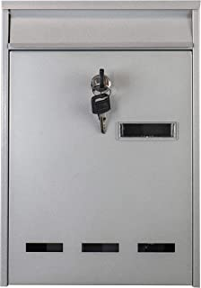 Piowio Outdoor Wall-Mounted Lockable Post Letter Mail Box with Viewing Window (Silver 31.5 * 21.5 * 7.5cm)