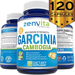100% Pure Garcinia Cambogia Extract 95% HCA - 120 Capsules - Non-GMO & Gluten Free, Highest Potency, Maximum Strength Garcinia Cambogia Weight Loss Supplement, Appetite Suppressant for Women and Men