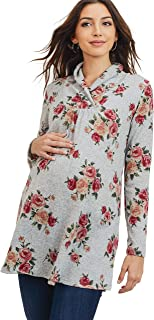 HELLO MIZ Women's Sweater Knit Maternity Long Sleeve Tunic Top (Grey Floral, L)