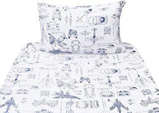 J-pinno Cars Tank Helicopter Aircraft Military Transport Vehicles Twin Sheet Set for Kids Boy Children,100% Cotton, Flat Sheet + Fitted Sheet + Pillowcase Bedding Set (Vehicle)