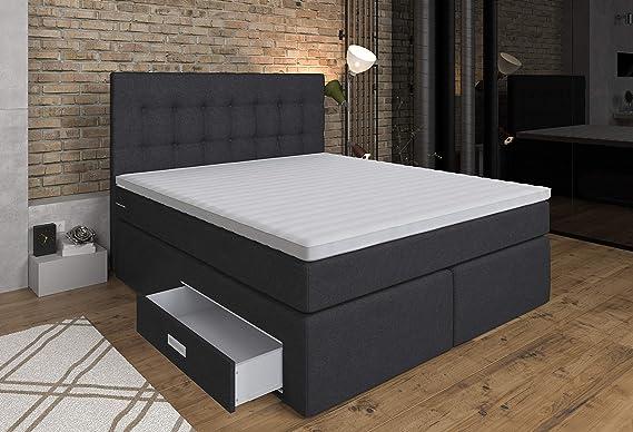Tesladreams Ankona - Cama con somier (180 x 200 cm, con cajón, 7 colchones con núcleo de muelles ensacados, H2/H3, tapizado de espuma 3D), color gris