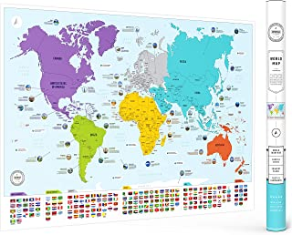 Colorful World Map with Flags & Capitals - X Large 26 x 38 in - Laminated Wall Art Poster for Home & Classroom - Education...