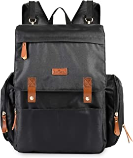 BabySprout Baby Diaper Bag Backpack Black with Changing Pad, Stroller Hooks, Large Capacity for Diapers, Wipes, Bottles, Breast Pump, Mom Dad Girl Boy