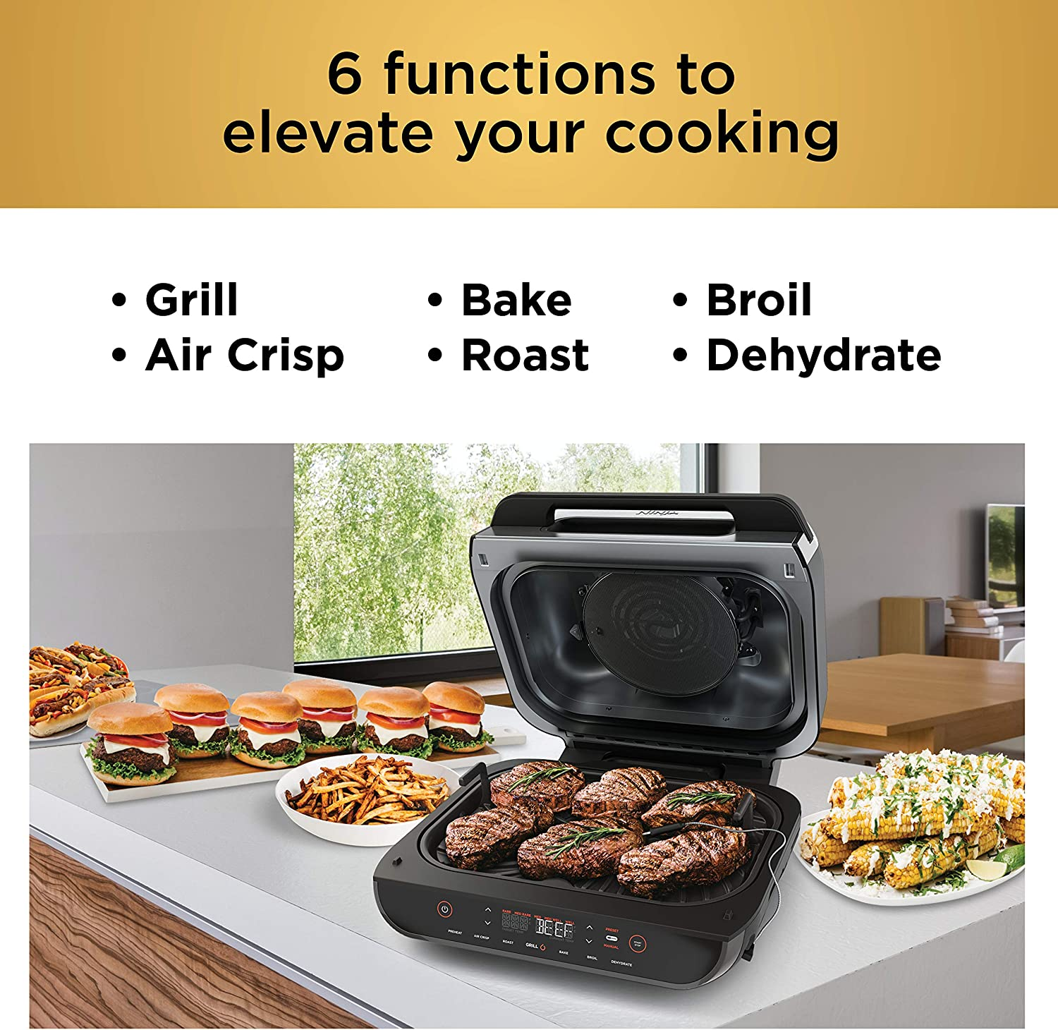 Ninja Fg551 Foodi 6 In 1 Indoor Grill With 4 Quart Air Fryer Bake Dehydrate Broil And Smart Cook System With Xl Capacity And A Black High Gloss Finish Amazon De Home Kitchen