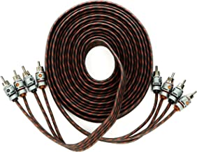 Alphasonik 17 Feet Premium 4 Channel Hyper-Flex RCA Interconnect Signal Patch Audio Cable with X-Radial Twist Wire Technology 100% Oxygen Free Copper Element Certified Multiple Applications FLEX-R44