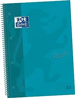 Oxford, A4 notitieboek, geruit, 5 x 5 cm, extra harde kaft, microgeperforeerd, Europeanbook 1 Touch, Aqua