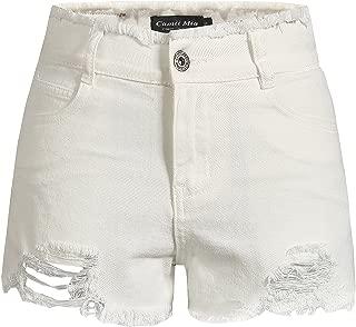 Camii Mia Women's Vintage Mid Rise Distressed Casual Denim Jean Shorts