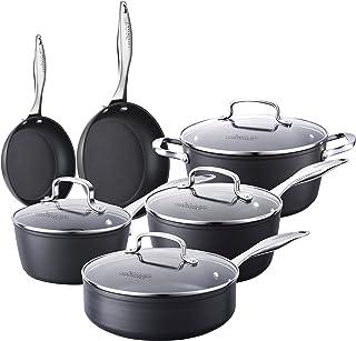 COOKSMARK Kingbox Batería de Cocina 10 piezas Juego de Ollas y Sartenes Antiadherentes de Aluminio Juego de Cacerolas con Tapas de Cristal Apta para el lavavajillas Gris
