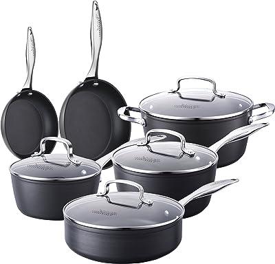 COOKSMARK Pots and Pans Set Non-Stick - Hard-Anodized Aluminum Cookware Set, Oven Safe Dishwasher Safe, (10-Piece Black