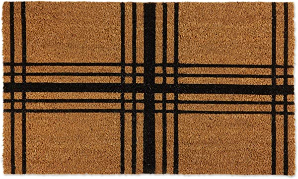 DII Black Farmhouse Plaid Geometric Doormat 18x30